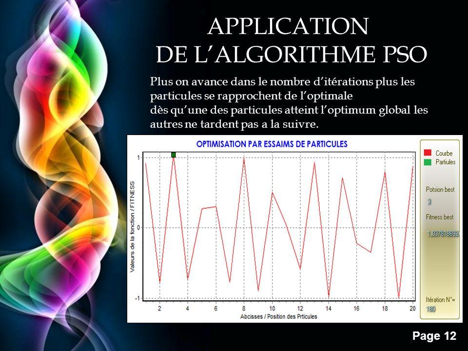 Free Powerpoint Templates Page 12 Plus on avance dans le nombre ditérations plus les particules se rapprochent de loptimale dès quune des particules a