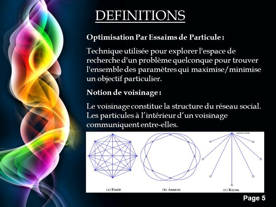 Free Powerpoint Templates Page 5 DEFINITIONS Optimisation Par Essaims de Particule : Technique utilisée pour explorer l'espace de recherche d'un probl