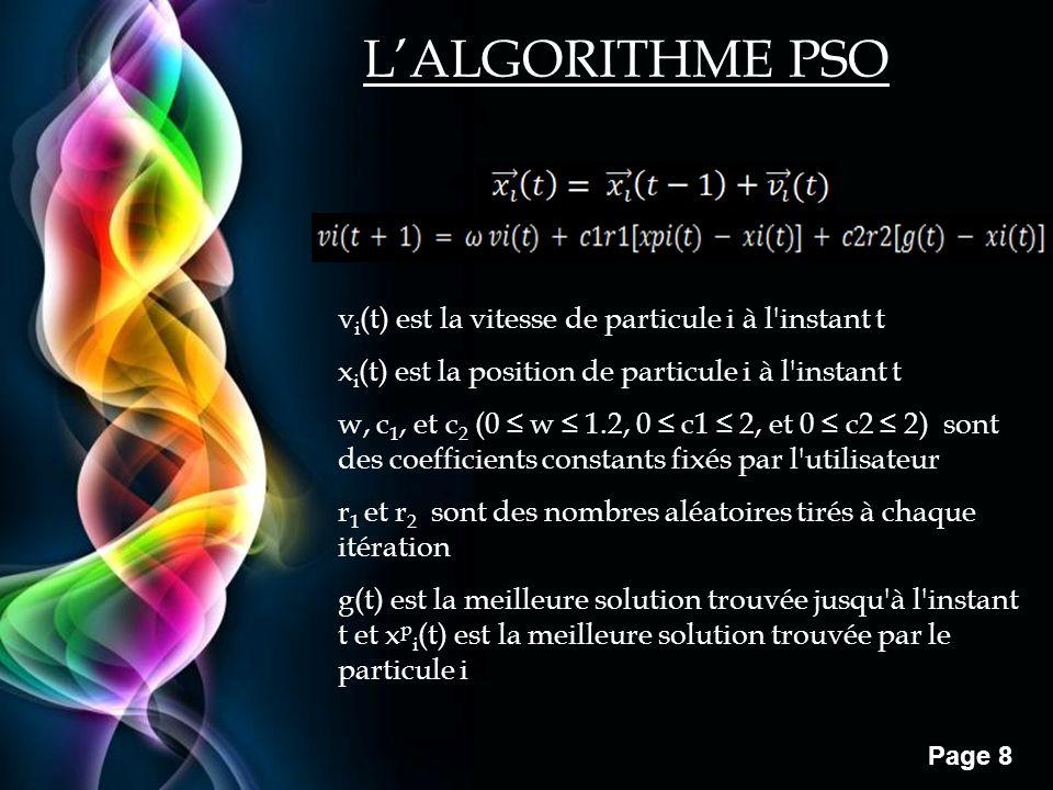Free Powerpoint Templates Page 8 v i (t) est la vitesse de particule i à l'instant t x i (t) est la position de particule i à l'instant t w, c 1, et c