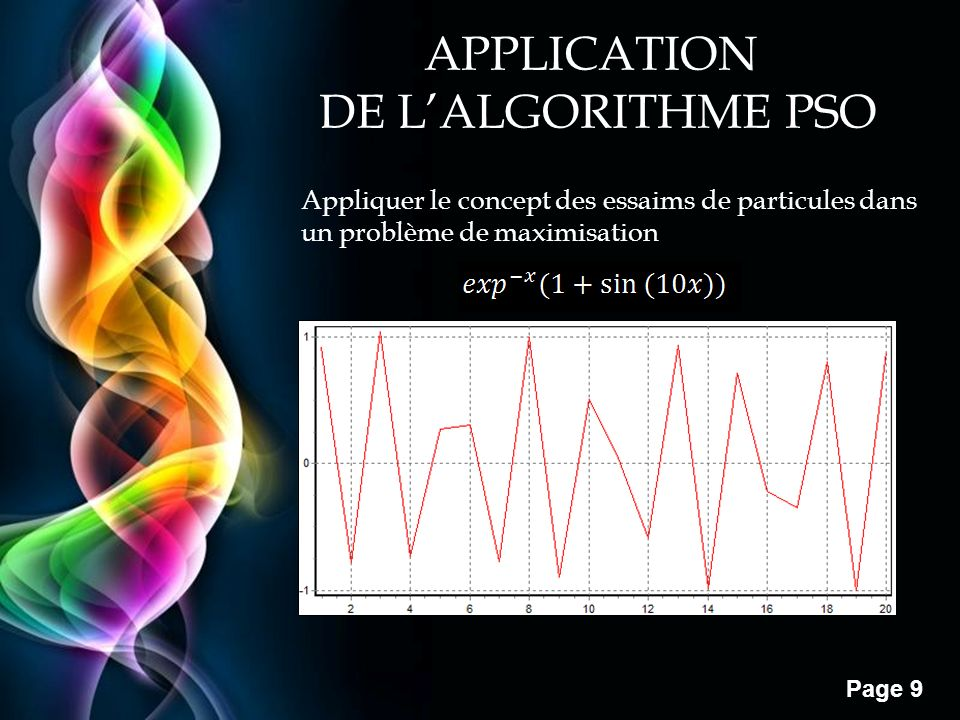 Free Powerpoint Templates Page 9 APPLICATION DE LALGORITHME PSO Appliquer le concept des essaims de particules dans un problème de maximisation