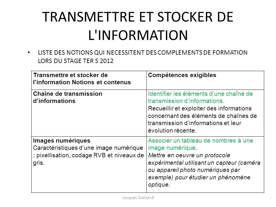 TRANSMETTRE ET STOCKER DE L'INFORMATION LISTE DES NOTIONS QUI NECESSITENT DES COMPLEMENTS DE FORMATION LORS DU STAGE TER S 2012 Jacques Guittard Trans