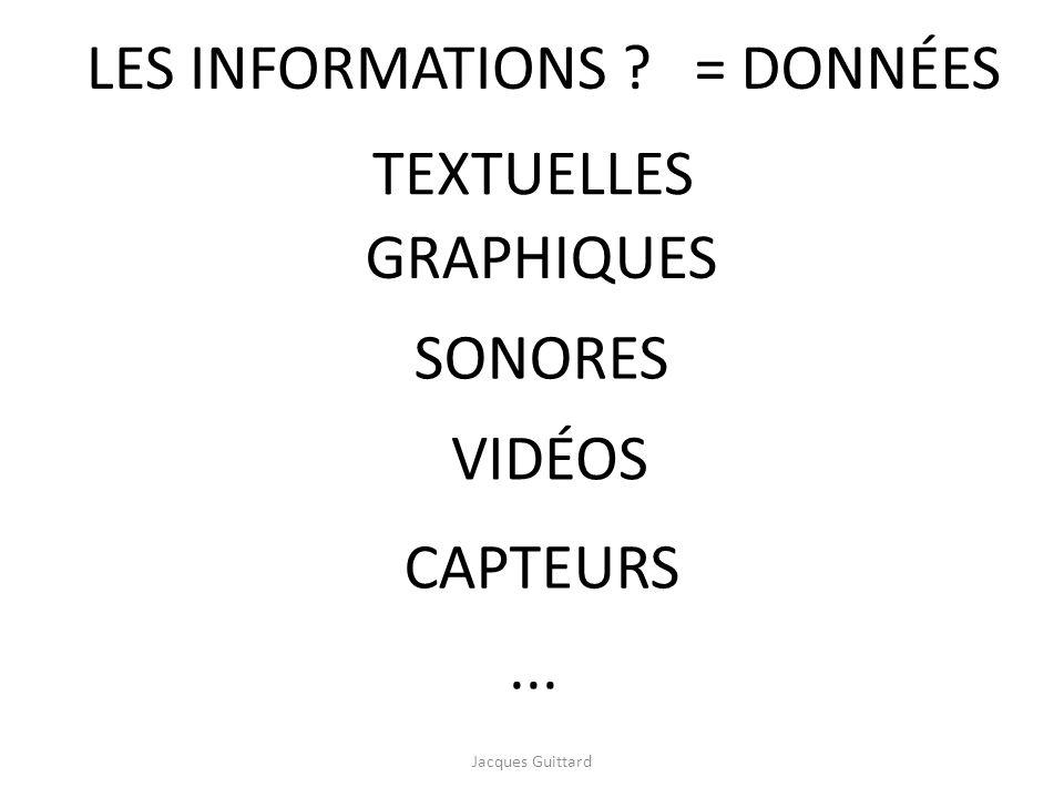 ... SONORES TEXTUELLES CAPTEURS GRAPHIQUES VIDÉOS LES INFORMATIONS ?= DONNÉES Jacques Guittard
