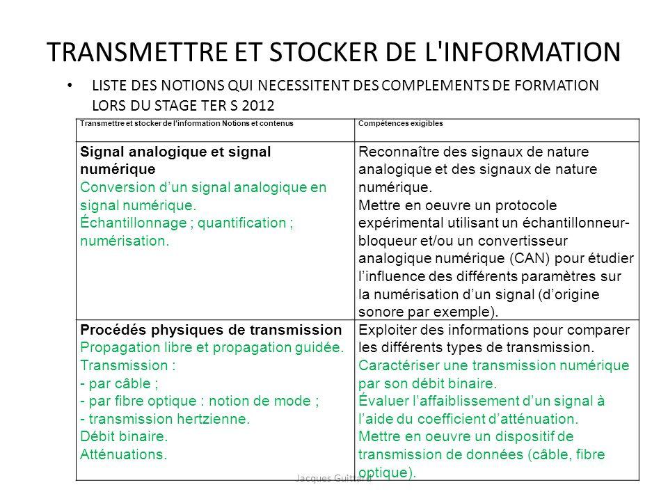 TRANSMETTRE ET STOCKER DE L'INFORMATION Jacques Guittard Transmettre et stocker de linformation Notions et contenusCompétences exigibles Signal analog