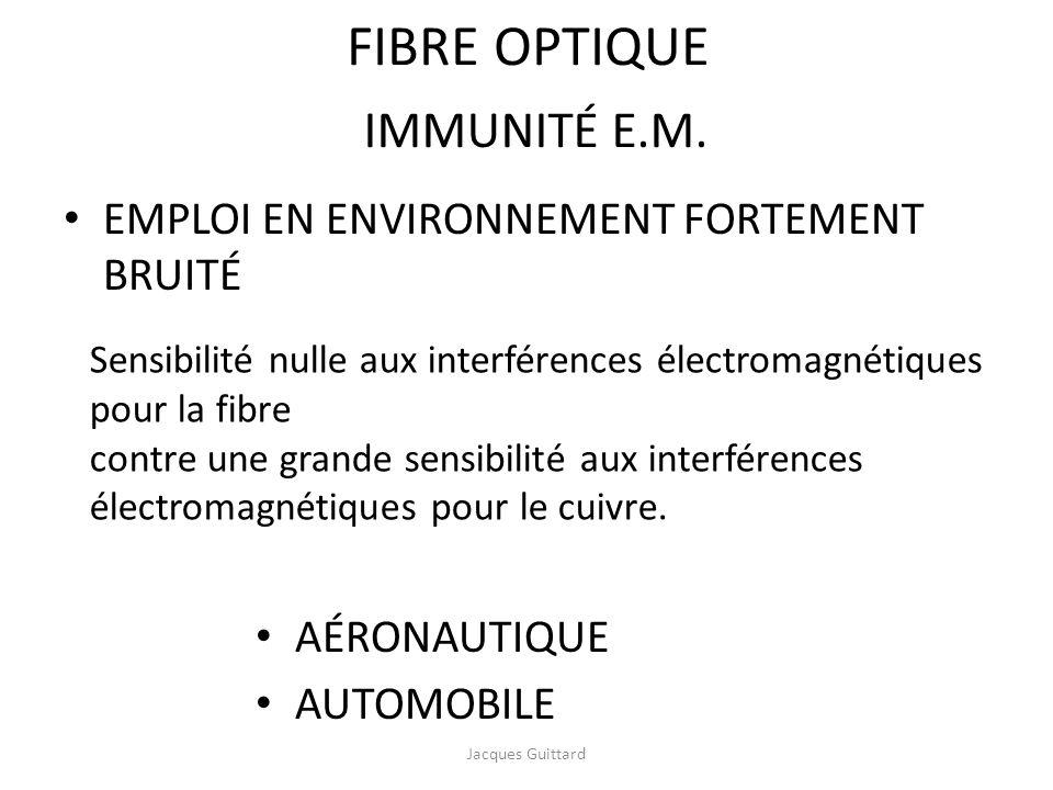 IMMUNITÉ E.M. EMPLOI EN ENVIRONNEMENT FORTEMENT BRUITÉ Sensibilité nulle aux interférences électromagnétiques pour la fibre contre une grande sensibil