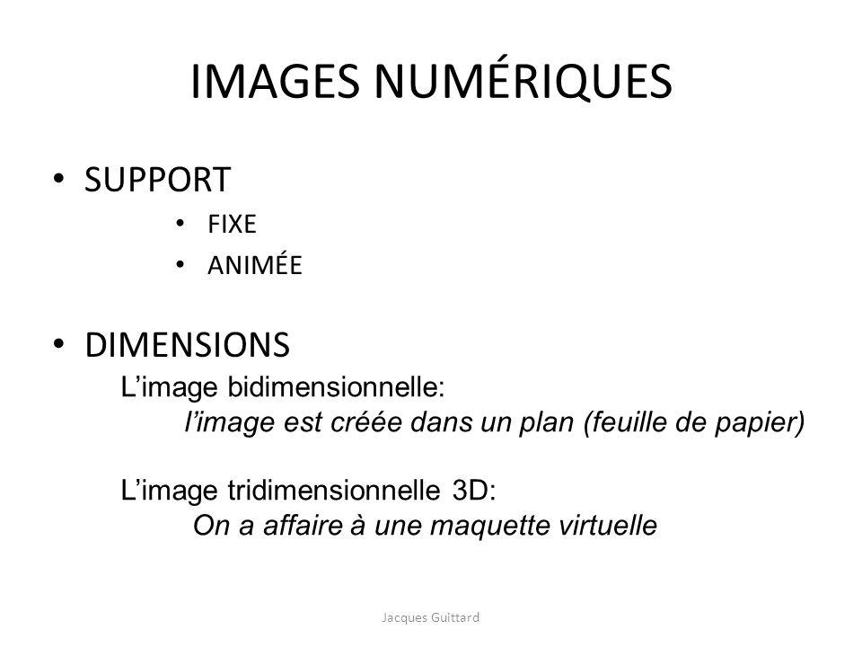 IMAGES NUMÉRIQUES SUPPORT DIMENSIONS Jacques Guittard FIXE ANIMÉE Limage bidimensionnelle: limage est créée dans un plan (feuille de papier) Limage tr
