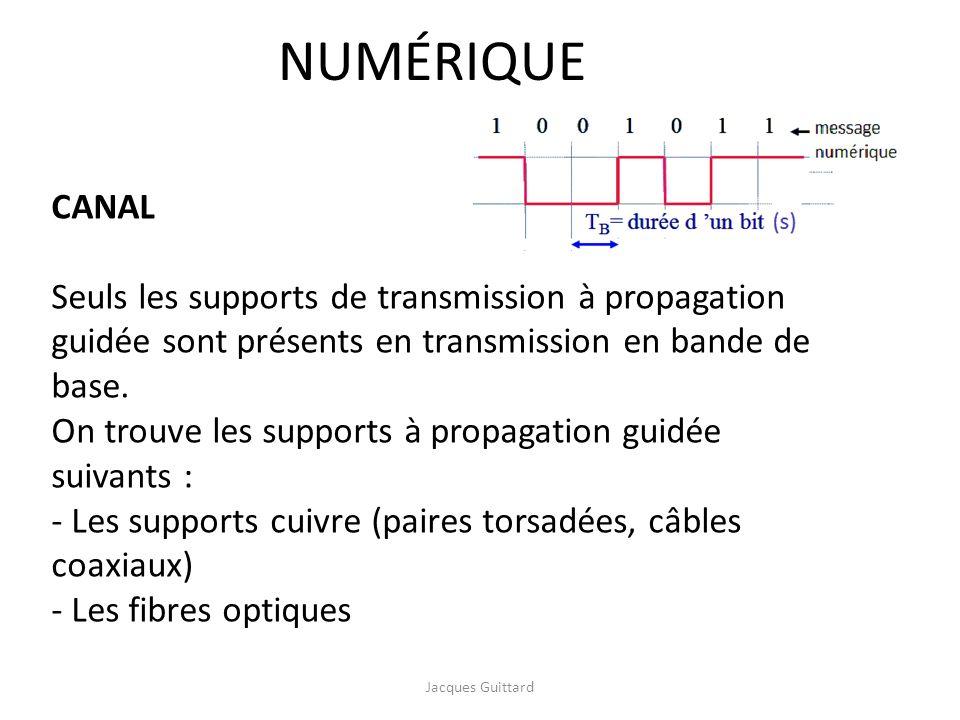 CANAL Seuls les supports de transmission à propagation guidée sont présents en transmission en bande de base. On trouve les supports à propagation gui