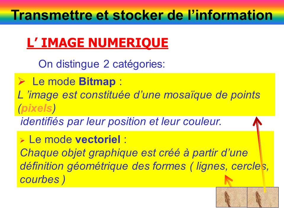 5 L IMAGE NUMERIQUE Le mode Bitmap : L image est constituée dune mosaïque de points (pixels) identifiés par leur position et leur couleur. On distingu