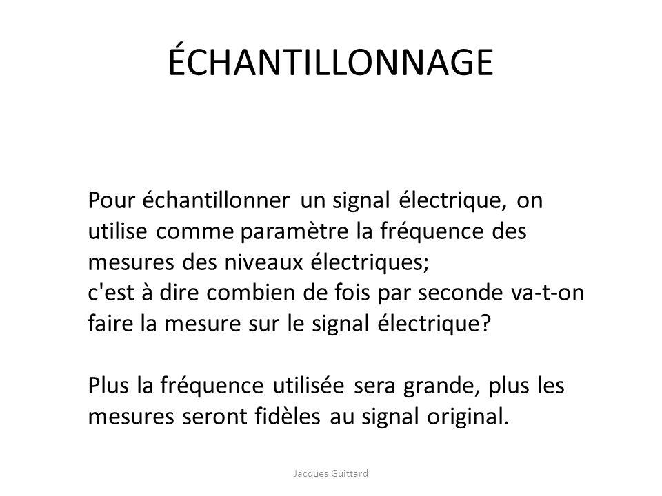 ÉCHANTILLONNAGE Pour échantillonner un signal électrique, on utilise comme paramètre la fréquence des mesures des niveaux électriques; c'est à dire co