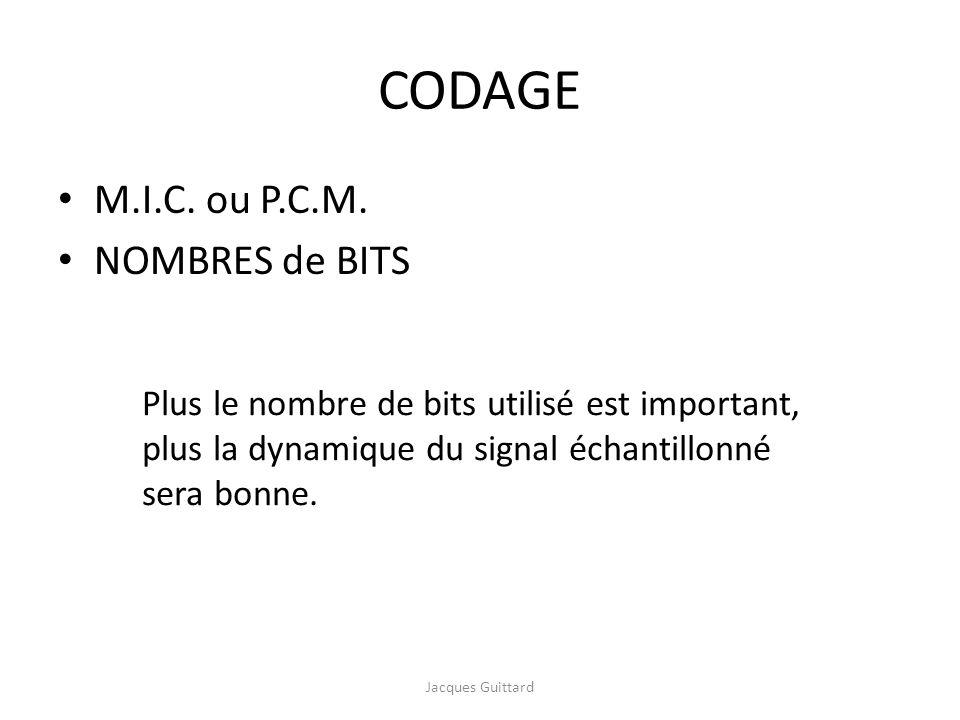 CODAGE M.I.C. ou P.C.M. NOMBRES de BITS Plus le nombre de bits utilisé est important, plus la dynamique du signal échantillonné sera bonne. Jacques Gu
