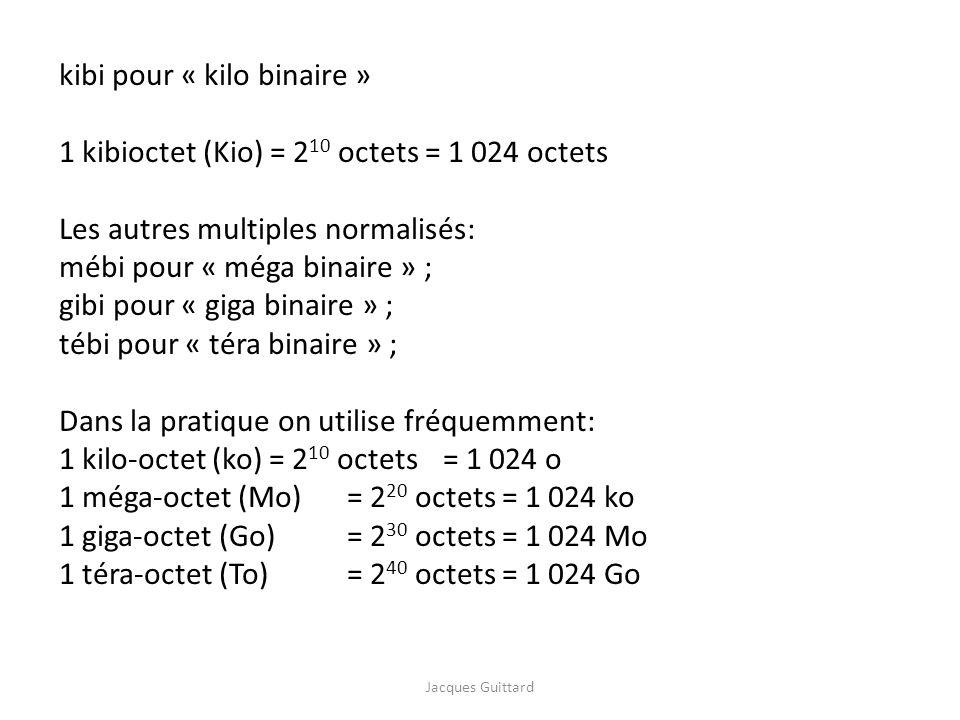 kibi pour « kilo binaire » 1 kibioctet (Kio) = 2 10 octets = 1 024 octets Les autres multiples normalisés: mébi pour « méga binaire » ; gibi pour « gi