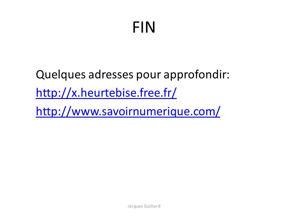 FIN Quelques adresses pour approfondir: http://x.heurtebise.free.fr/ http://www.savoirnumerique.com/ Jacques Guittard