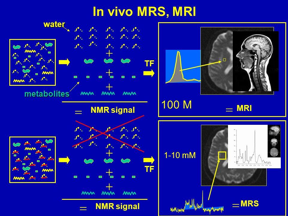 NMR signal TF MRI MRS In vivo MRS, MRI 100 M 1-10 mM NMR signal water metabolites