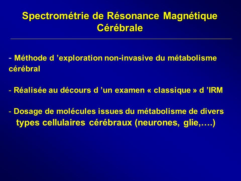 Spectrométrie de Résonance Magnétique Cérébrale - Méthode d exploration non-invasive du métabolisme cérébral - Réalisée au décours d un examen « class