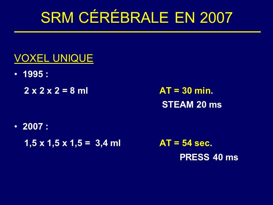 SRM CÉRÉBRALE EN 2007 VOXEL UNIQUE 1995 : 2 x 2 x 2 = 8 mlAT = 30 min. STEAM 20 ms 2007 : 1,5 x 1,5 x 1,5 = 3,4 mlAT = 54 sec. PRESS 40 ms