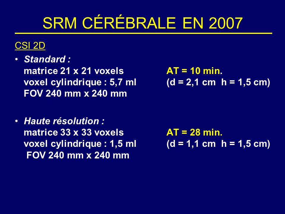 SRM CÉRÉBRALE EN 2007 CSI 2D Standard : matrice 21 x 21 voxelsAT = 10 min. voxel cylindrique : 5,7 ml(d = 2,1 cm h = 1,5 cm) FOV 240 mm x 240 mm Haute