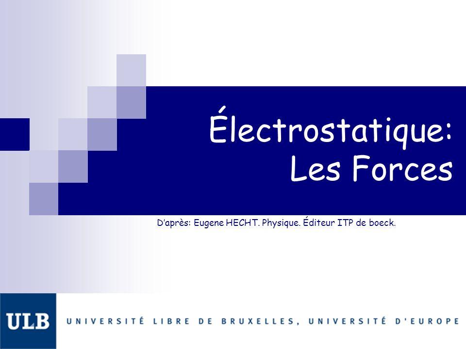 Daprès: Eugene HECHT. Physique. Éditeur ITP de boeck. Électrostatique: Les Forces