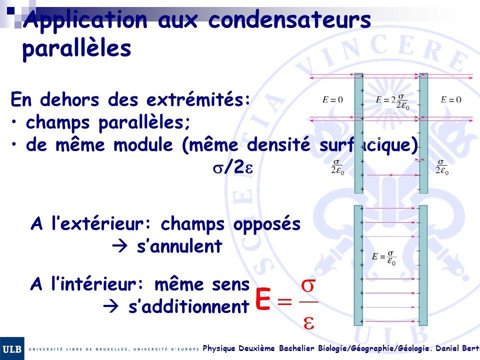 Physique Deuxième Bachelier Biologie/Géographie/Géologie. Daniel Bertrand 17. 35 Application aux condensateurs parallèles En dehors des extrémités: ch