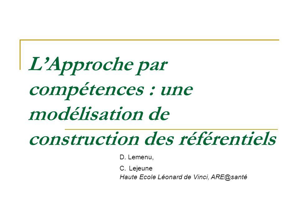 LApproche par compétences : une modélisation de construction des référentiels D. Lemenu, C. Lejeune Haute Ecole Léonard de Vinci, ARE@santé