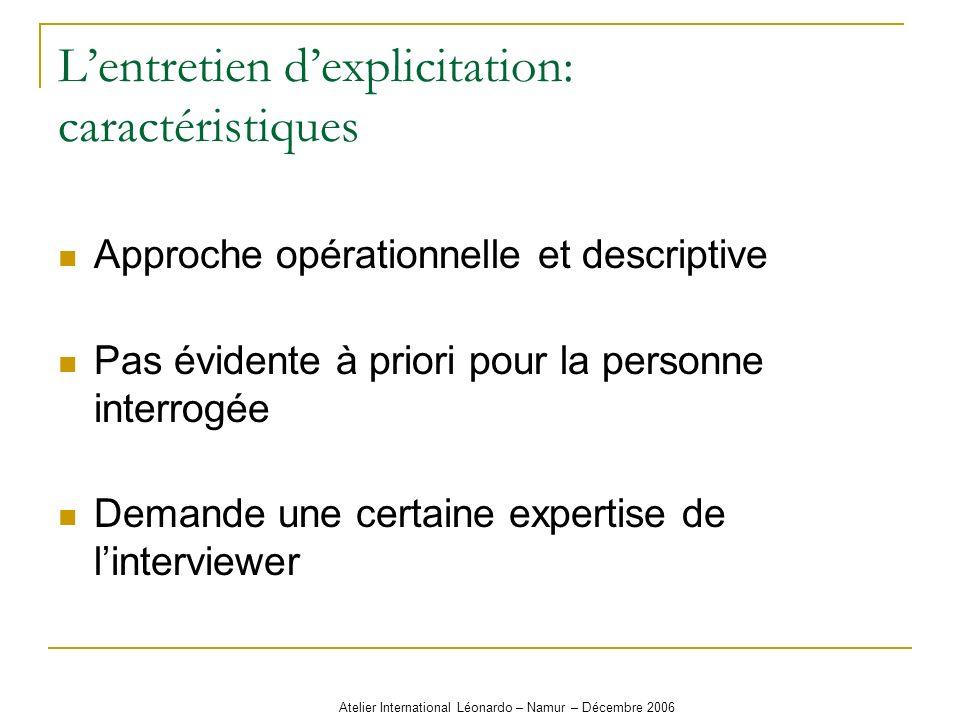 Atelier International Léonardo – Namur – Décembre 2006 Lentretien dexplicitation: caractéristiques Approche opérationnelle et descriptive Pas évidente