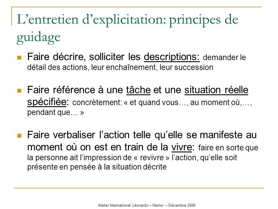 Atelier International Léonardo – Namur – Décembre 2006 Lentretien dexplicitation: principes de guidage Faire décrire, solliciter les descriptions: dem
