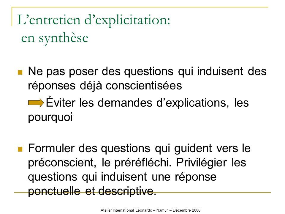 Atelier International Léonardo – Namur – Décembre 2006 Lentretien dexplicitation: en synthèse Ne pas poser des questions qui induisent des réponses dé