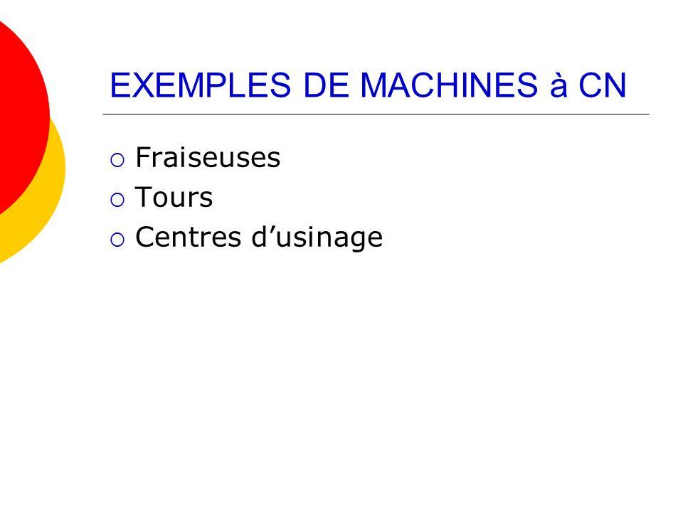 EXEMPLES DE MACHINES à CN Fraiseuses Tours Centres dusinage