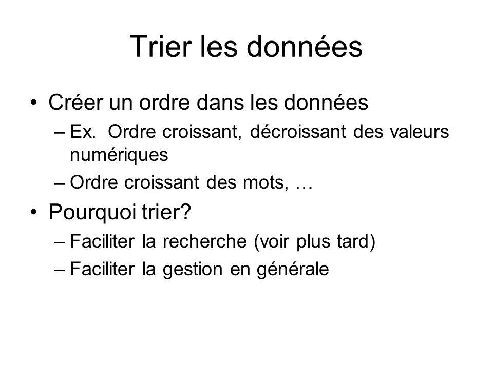 Trier les données Créer un ordre dans les données –Ex.