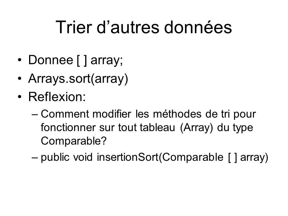 Trier dautres données Donnee [ ] array; Arrays.sort(array) Reflexion: –Comment modifier les méthodes de tri pour fonctionner sur tout tableau (Array) du type Comparable.