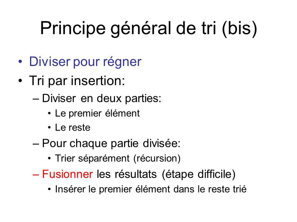 Insérer // insérer lélément index dans le reste qui est déjà trié public void insert(int [] array, int index) { if (index >= array.length-1) return; if (array[index] <= array[index+1]) return; swap(array, index, index+1); //array[index]>array[index+1] insert(array, index+1); } Arrêt de récursion