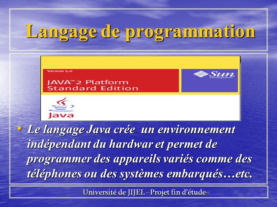 Langage de programmation Langage de programmation Le langage Java crée un environnement indépendant du hardwar et permet de programmer des appareils variés comme des téléphones ou des systèmes embarqués…etc.