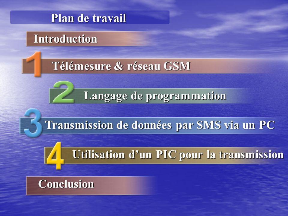Plan de travail Langage de programmation Transmission de données par SMS via un PC Utilisation dun PIC pour la transmission Introduction Télémesure & réseau GSM Conclusion