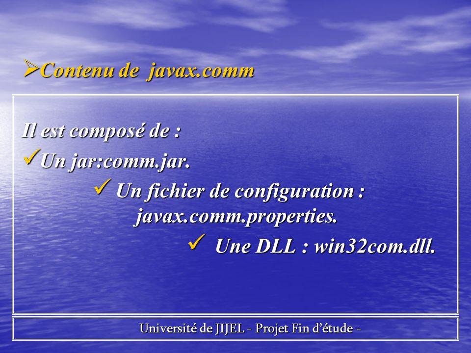 Contenu de javax.comm Contenu de javax.comm Il est composé de : Un jar:comm.jar.