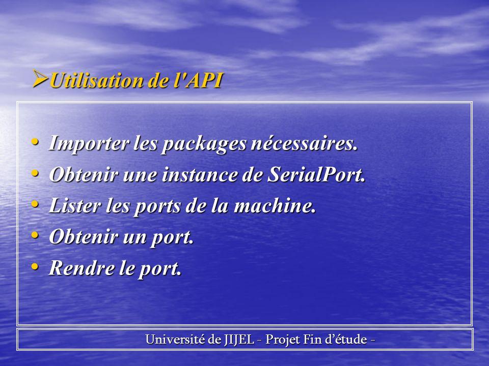 Utilisation de l'API Utilisation de l'API Importer les packages nécessaires. Importer les packages nécessaires. Obtenir une instance de SerialPort. Ob