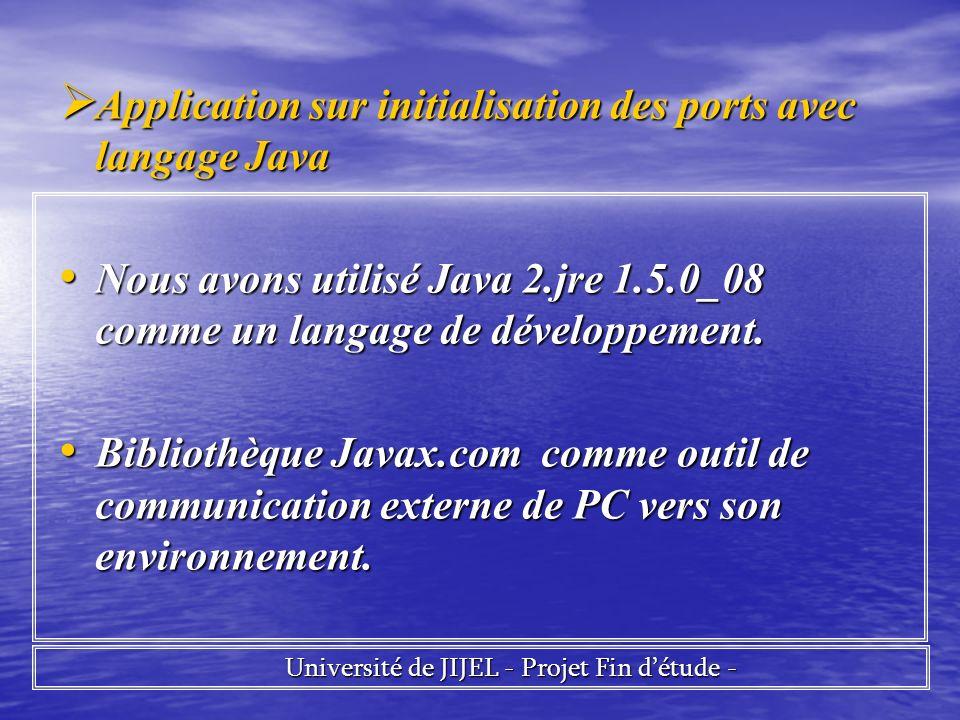 Application sur initialisation des ports avec langage Java Application sur initialisation des ports avec langage Java Nous avons utilisé Java 2.jre 1.