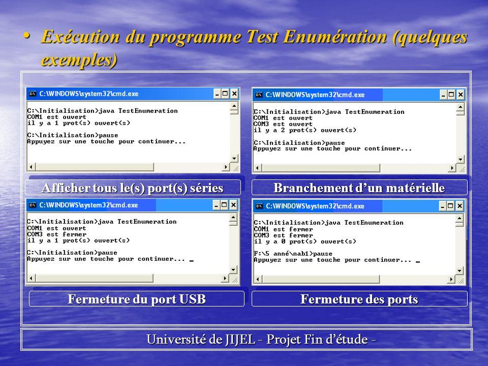Exécution du programme Test Enumération (quelques exemples) Exécution du programme Test Enumération (quelques exemples) Université de JIJEL - Projet Fin détude - Université de JIJEL - Projet Fin détude - Afficher tous le(s) port(s) séries Branchement dun matérielle Fermeture du port USB Fermeture des ports