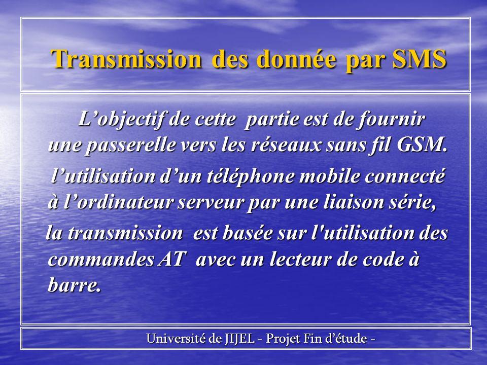 Université de JIJEL - Projet Fin détude - Université de JIJEL - Projet Fin détude - Transmission des donnée par SMS Transmission des donnée par SMS Lobjectif de cette partie est de fournir une passerelle vers les réseaux sans fil GSM.
