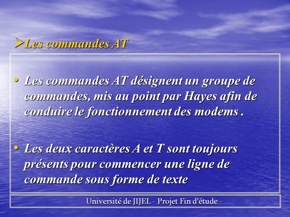 Université de JIJEL - Projet Fin détude - Université de JIJEL - Projet Fin détude - Les commandes AT Les commandes AT Les commandes AT désignent un groupe de commandes, mis au point par Hayes afin de conduire le fonctionnement des modems.