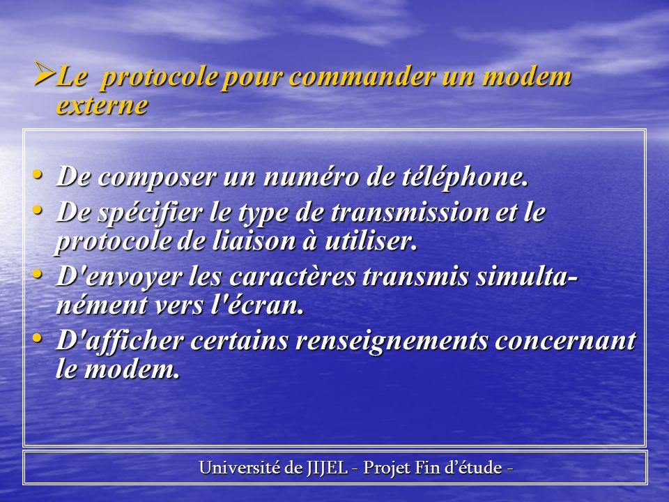 Université de JIJEL - Projet Fin détude - Université de JIJEL - Projet Fin détude - Le protocole pour commander un modem externe Le protocole pour com