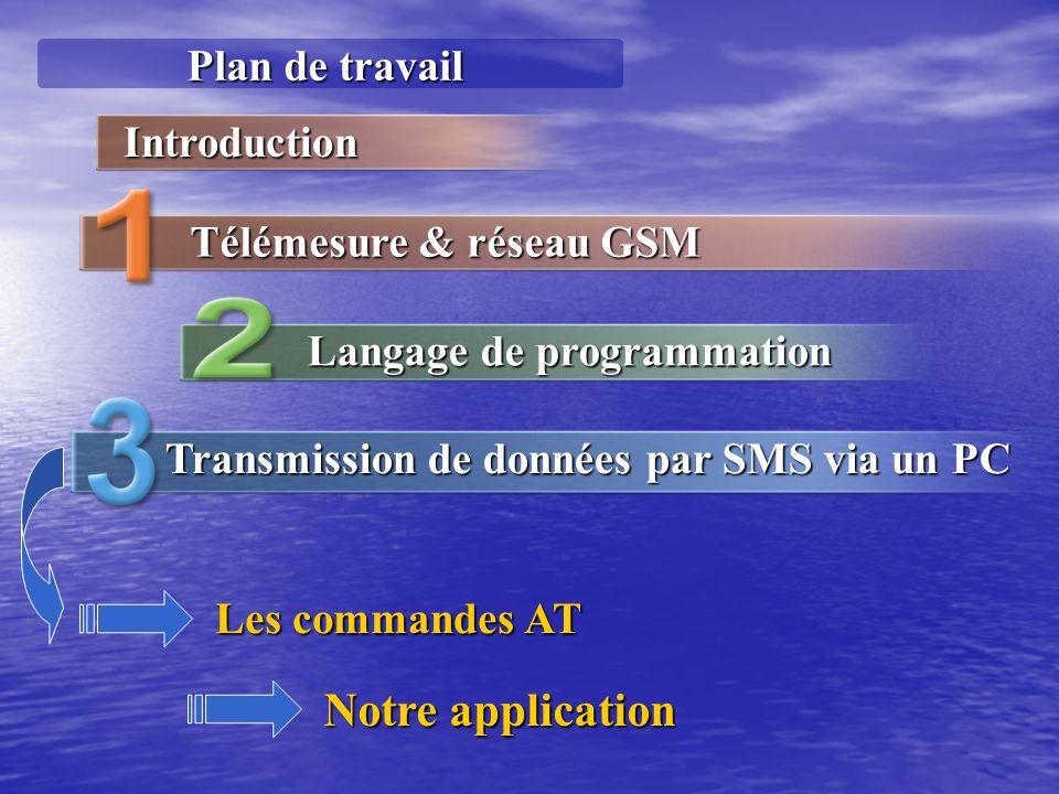 Plan de travail Langage de programmation Transmission de données par SMS via un PC Introduction Télémesure & réseau GSM Les commandes AT Notre applica