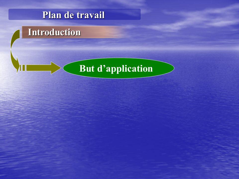 Plan de travail Introduction But dapplication