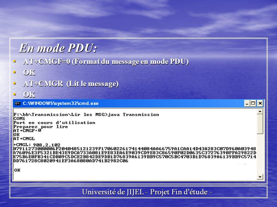 En mode PDU: En mode PDU: AT+CMGF=0 (Format du message en mode PDU) AT+CMGF=0 (Format du message en mode PDU) OK OK AT+CMGR (Lit le message) AT+CMGR (Lit le message) OK OK Université de JIJEL - Projet Fin détude - Université de JIJEL - Projet Fin détude -