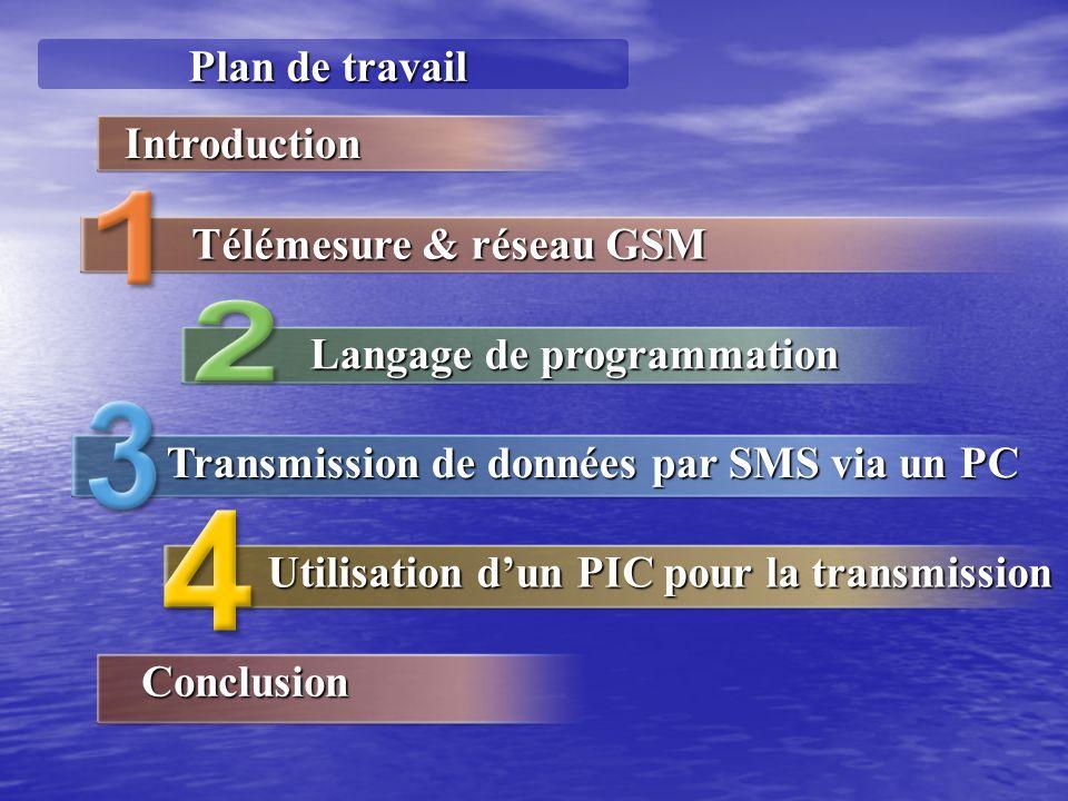 Plan de travail Langage de programmation Transmission de données par SMS via un PC Utilisation dun PIC pour la transmission Introduction Télémesure &