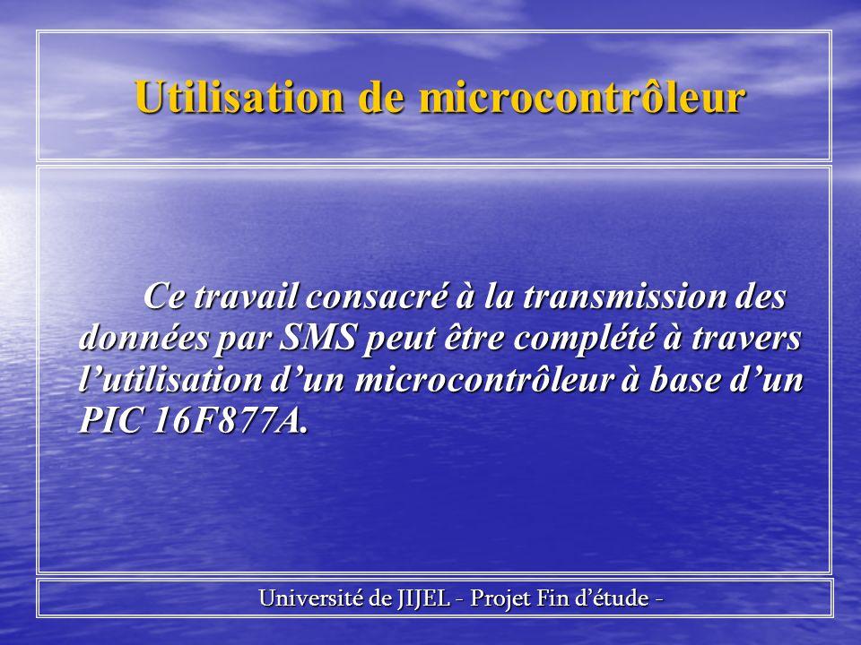 Utilisation de microcontrôleur Utilisation de microcontrôleur Ce travail consacré à la transmission des données par SMS peut être complété à travers lutilisation dun microcontrôleur à base dun PIC 16F877A.