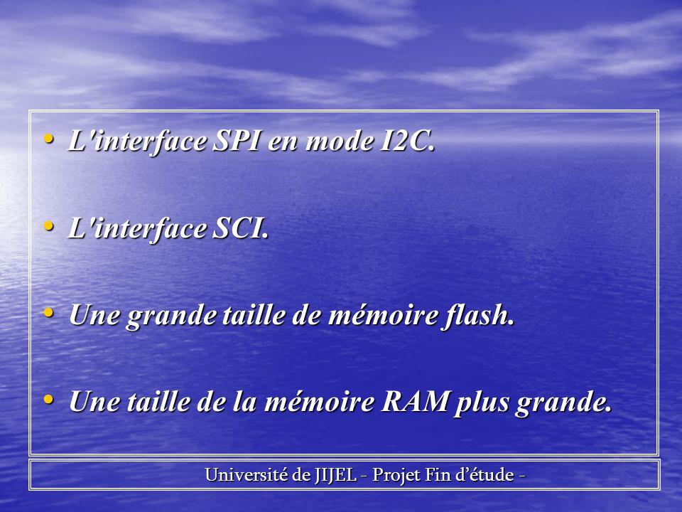 L'interface SPI en mode I2C. L'interface SPI en mode I2C. L'interface SCI. L'interface SCI. Une grande taille de mémoire flash. Une grande taille de m