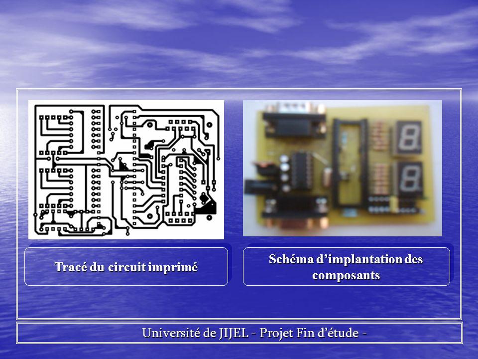 Université de JIJEL - Projet Fin détude - Université de JIJEL - Projet Fin détude - Tracé du circuit imprimé Schéma dimplantation des composants