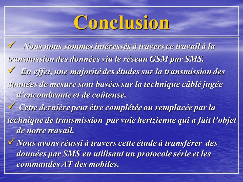 Conclusion Nous nous sommes intéressés à travers ce travail à la Nous nous sommes intéressés à travers ce travail à la transmission des données via le réseau GSM par SMS.