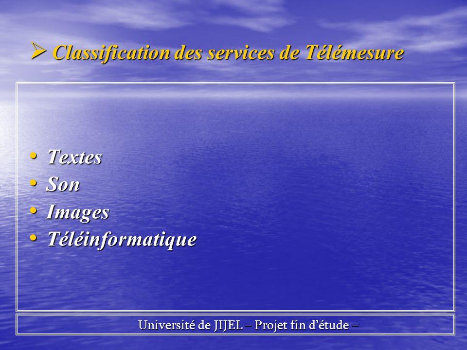 Classification des services de Télémesure Classification des services de Télémesure Textes Textes Son Son Images Images Téléinformatique Téléinformati