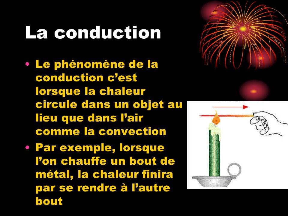 La conduction Le phénomène de la conduction cest lorsque la chaleur circule dans un objet au lieu que dans lair comme la convection Par exemple, lorsque lon chauffe un bout de métal, la chaleur finira par se rendre à lautre bout