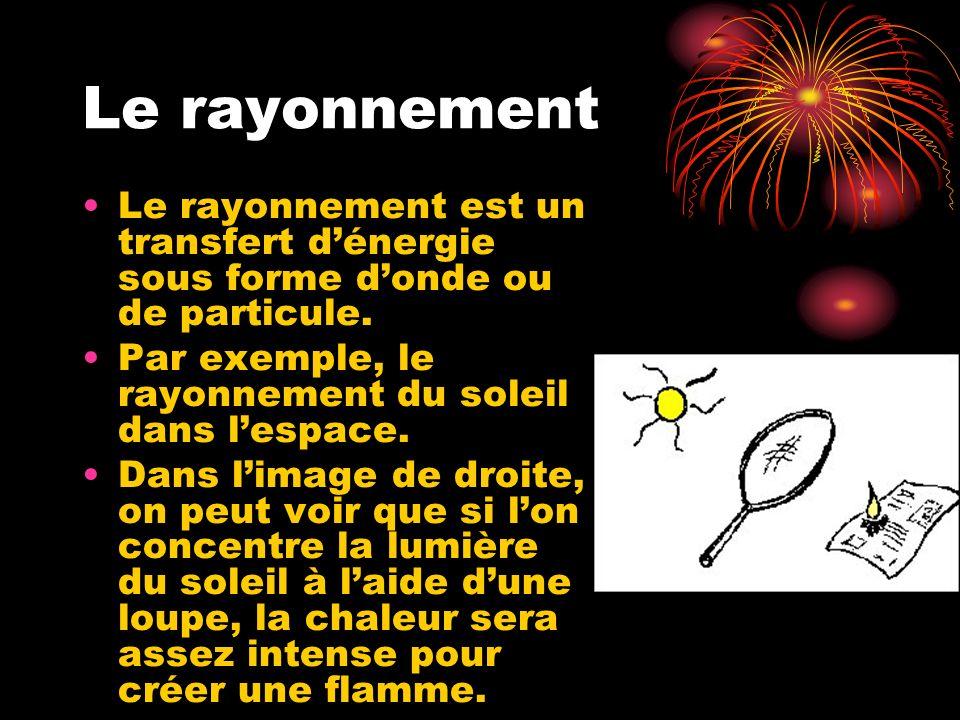 Le rayonnement Le rayonnement est un transfert dénergie sous forme donde ou de particule. Par exemple, le rayonnement du soleil dans lespace. Dans lim