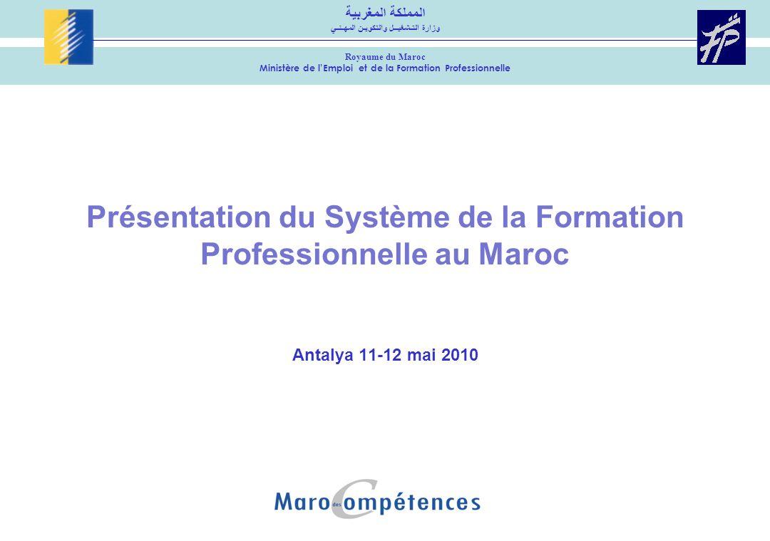 Présentation du Système de la Formation Professionnelle au Maroc Antalya 11-12 mai 2010 المملكة المغربية وزارة التـشغيــل والتكويـن المهـنـي Royaume d